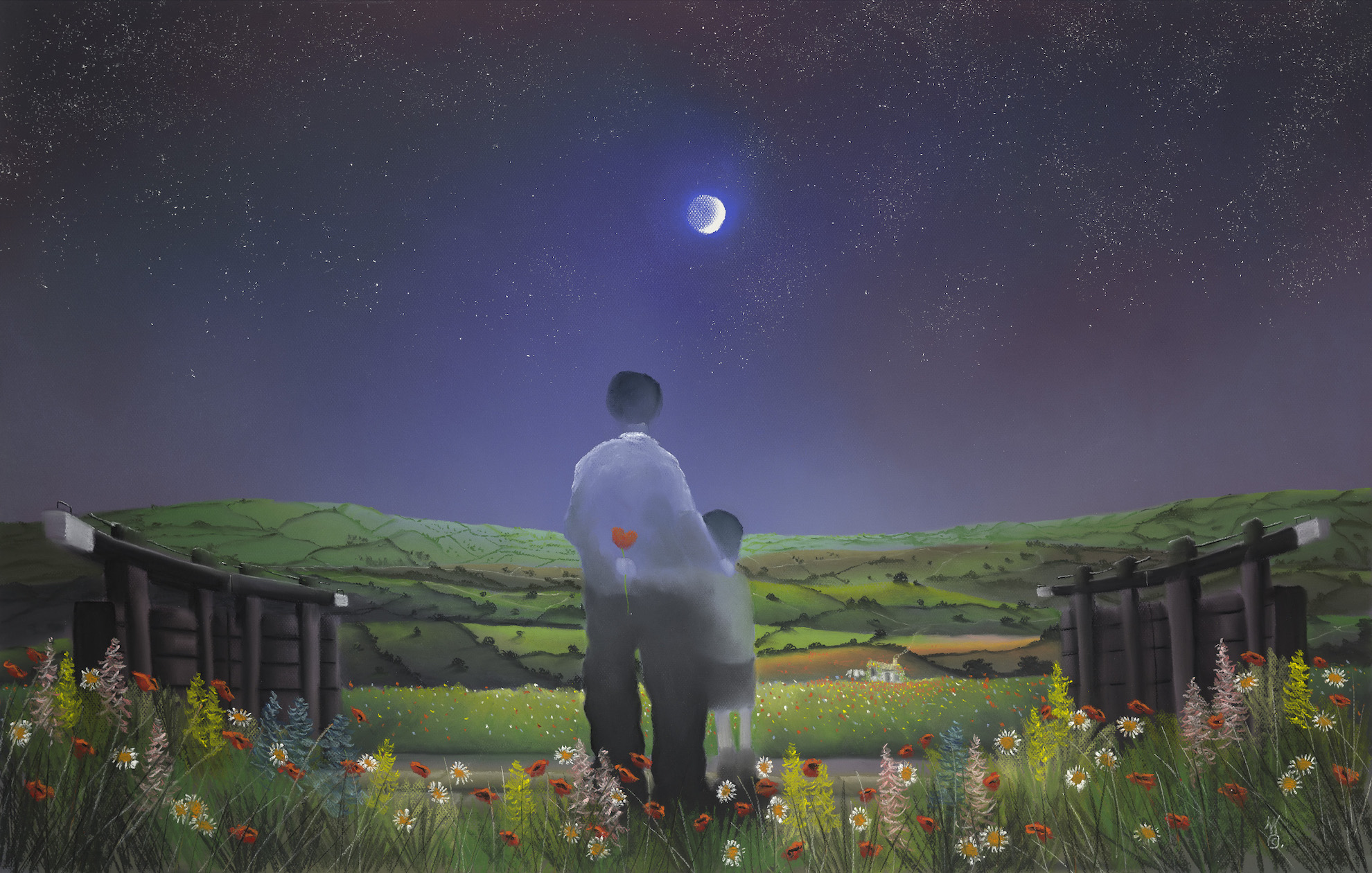 UNDER MOON AND AND STARS by Mackenzie Thorpe